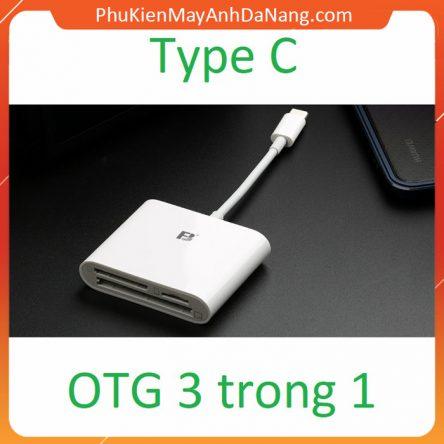 Đầu đọc thẻ 3 trong 1 (SD, CF, TF) cho điện thoại Android OTG Type-C hàng chuẩn kết nối ổn định