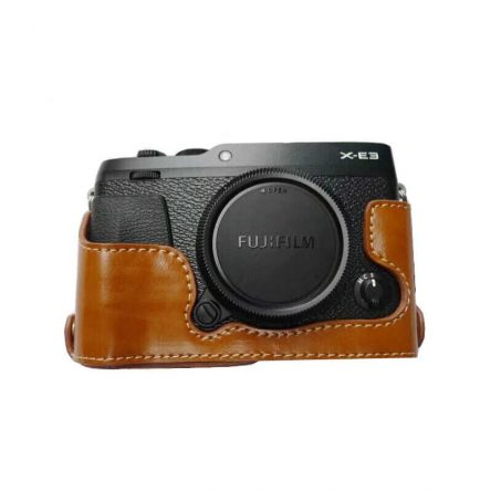 Half case – bao da máy ảnh FUJIFILM X-E3 XE3 – màu đen, nâu sáng, nâu cafe